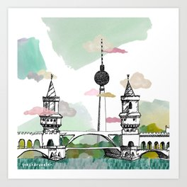 Oberbaum Brücke and TV Tower - Berlin - East/West boundary - East Side Gallery Art Print