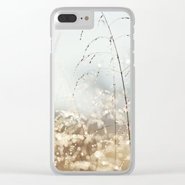 Gold Blue Sparkle Nature Photography, Dew Drop Grass Brown, Morning Water Dewdrops, Magical Bokeh Clear iPhone Case