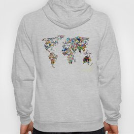 World map full of flowers and birds Hoody