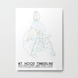 Mt. Hood Timberline, OR - Minimalist Trail Maps Metal Print
