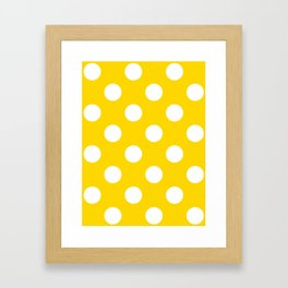 Large Polka Dots - White on Gold Yellow Framed Art Print