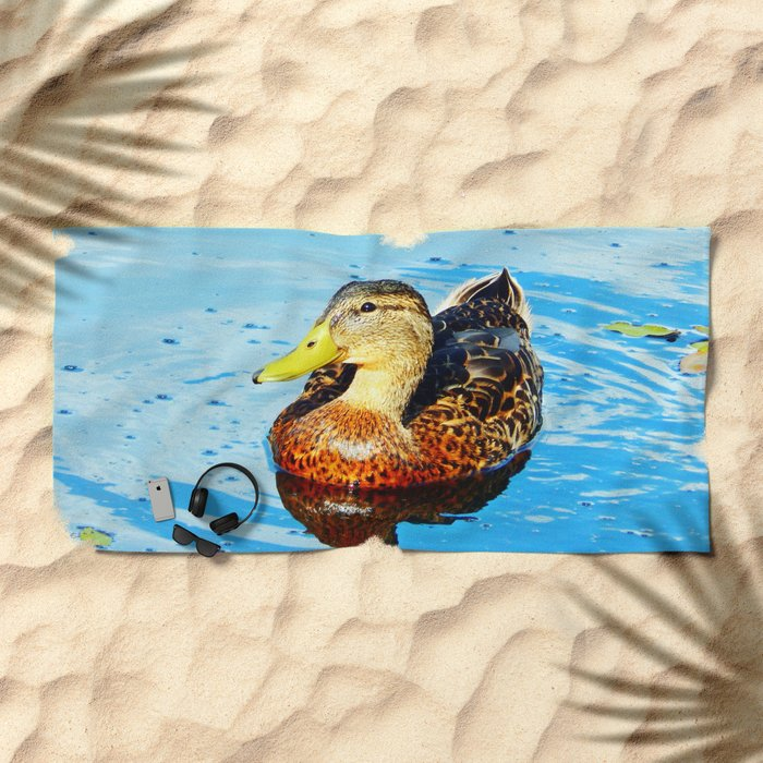 Duck Reflected Beach Towel