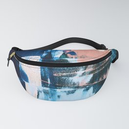 On the Dock: a pretty abstract design in blues and pinks by Alyssa Hamilton Art Fanny Pack