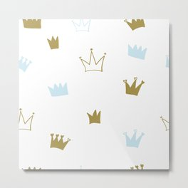 Hand Drawn Crown. Seamless Baby Boy Wallpaper Metal Print