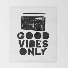 Good Vibes Only Boombox Throw Blanket
