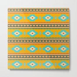 Bohemian mustard pattern. Turquoise diamonds Metal Print