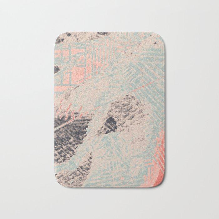 Industry: mixed media | digital | street art | abstract | blue | coral | gray | pink | pattern | Bath Mat
