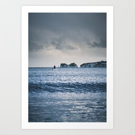 The Man In The White Boat Art Print