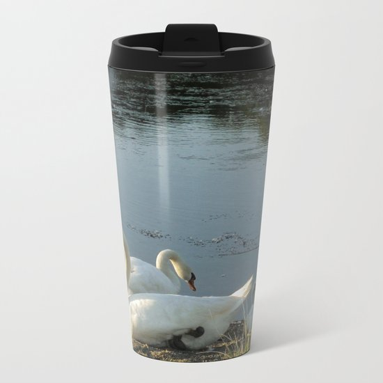 Parents and baby relaxing on the shore Metal Travel Mug