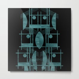 Black Teal Metal Print