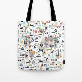 Animals World Map Animal Travelers Gray Tote Bag