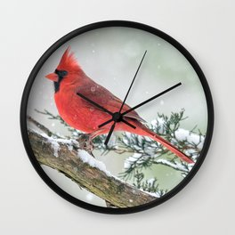 Cardinal Holding Steady in the Storm Wall Clock