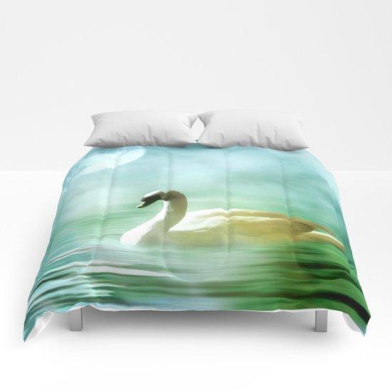 Moonlit Swan Comforters
