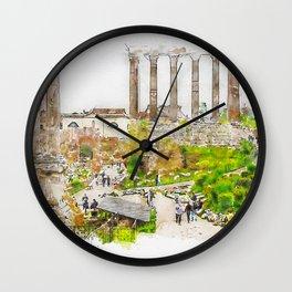 Aquarelle sketch art. Roman ruins in Rome, Forum Wall Clock