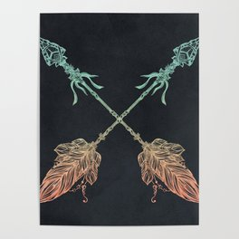 Arrows Turquoise Coral on Navy Poster