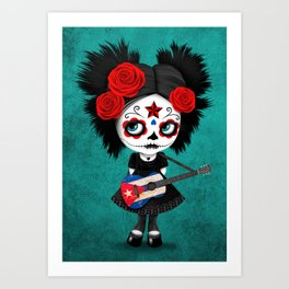 Day of the Dead Girl Playing Cuban Flag Guitar Art Print