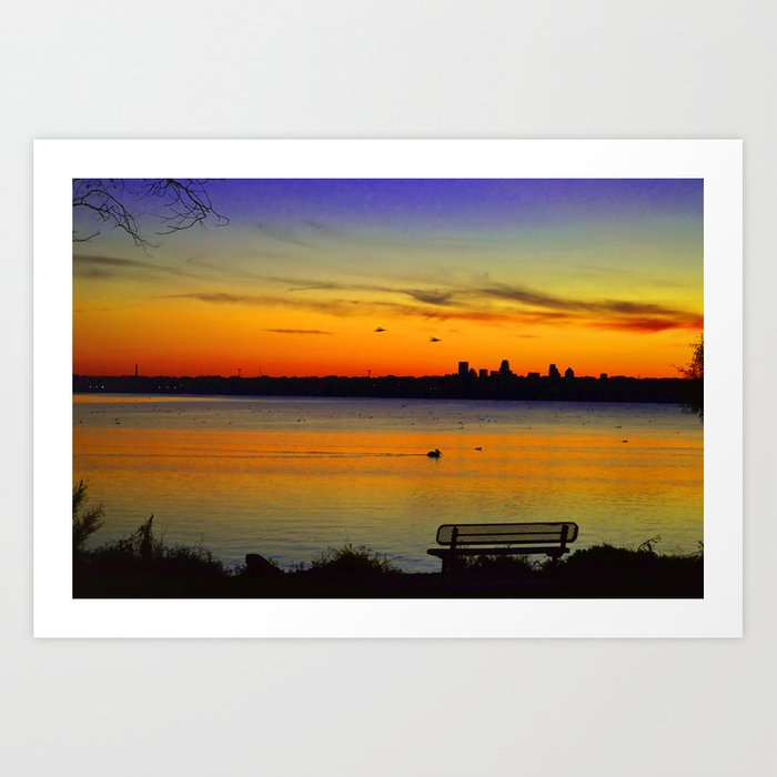 Sunset over White Rock Lake Dallas Art Print