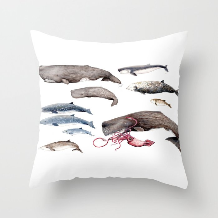 Deep sea whales Throw Pillow