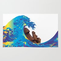 hokusai Area & Throw Rugs featuring Hokusai Rainbow & Moai by FACTORIE