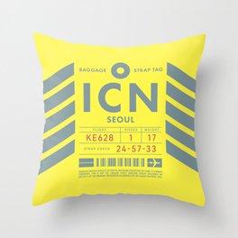 Luggage Tag D - ICN Seoul Incheon South Korea Throw Pillow
