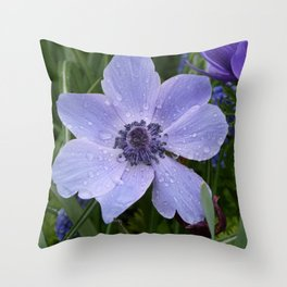 Purple flower with dew drops I Nature I Spring I Garden I Photography Throw Pillow