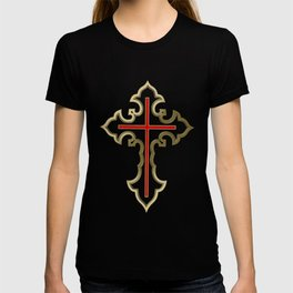 Golden Christian cross T-shirt