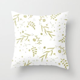 Golden Nature Scene Throw Pillow