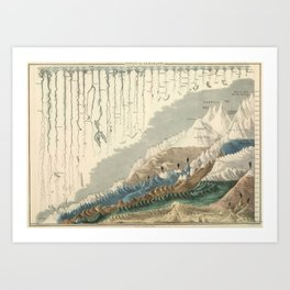1854 Comparative Lengths of Rivers and Heights of Mountains Art Print