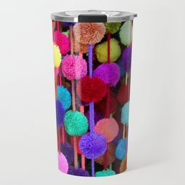 Rainbow Pom-poms (Vertical) Travel Mug