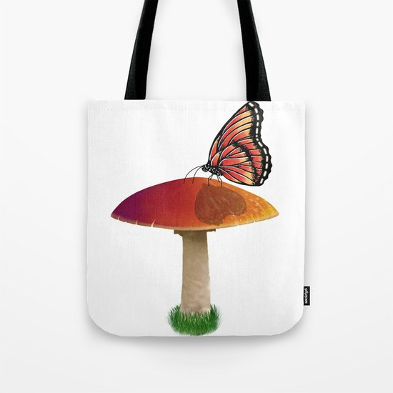 Butterfly and Mushroom Tote Bag