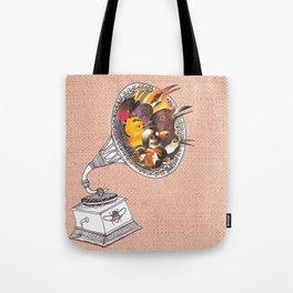 Bird Gramophone Cover Art Tote Bag
