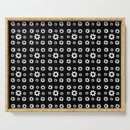 stars 19 black and white Serving Tray