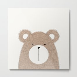 Cute Woodland Animals Baby Nursery Bear Metal Print