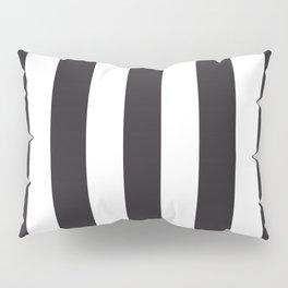 Raisin black - solid color - white vertical lines pattern Pillow Sham