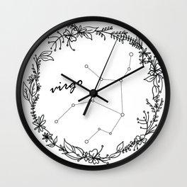 Floral Virgo Constellation Wall Clock