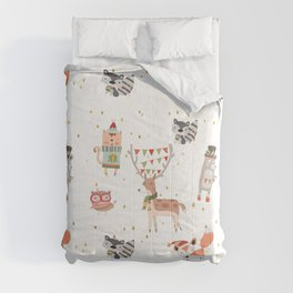 Cute Christmas Woodland Animals Comforters