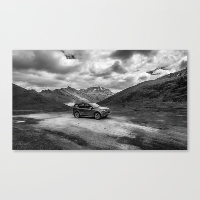 An Suv In Ladakh Amidst The Cold Desert Of Himalayas In India Canvas