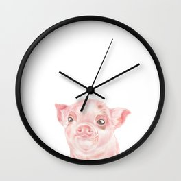Baby Pig Watercolour | Baby Animal Art Wall Clock