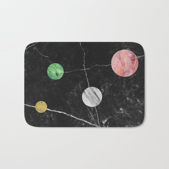 Black Marble with Polka Dots Bath Mat