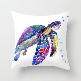 Sea Turtle Rainbow Colors Throw Pillow