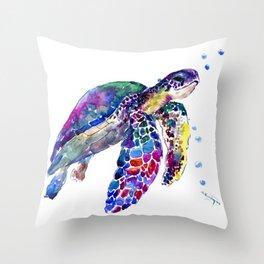 Sea Turtle Rainbow Colors, turtle design illustration artwork animals Throw Pillow