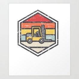 Retro Badge Forklift Art Print