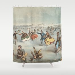 Vintage Central Park Ice Skating Painting (1861) Shower Curtain