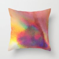 holographic Throw Pillows featuring An abstract colorful holographic futuristic texture. by Bastetamon
