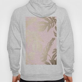 Simply Tropical Palm Leaves White Gold Sands on Flamingo Pink Hoody