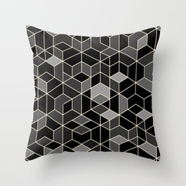 Black geometry / hexagon pattern Throw Pillow