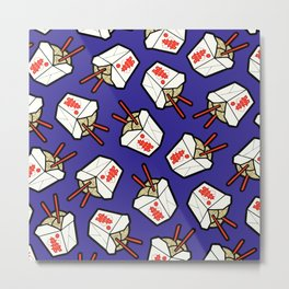 Take-Out Noodles Box Pattern Metal Print