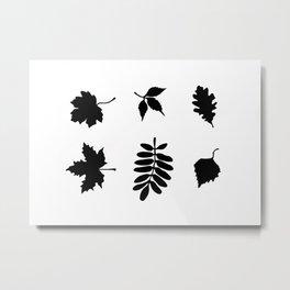 Bold Black Leaves Pattern Metal Print
