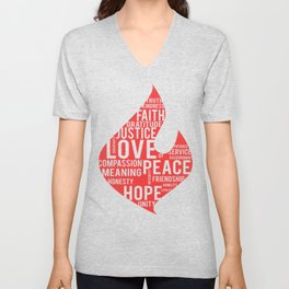 Fire flame and virtues Unisex V-Neck