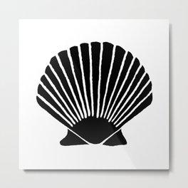 Black Seashell Metal Print